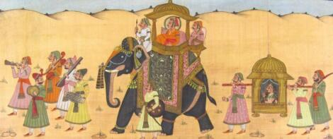 19thC Indian School. Figures in procession with elephant and sedan chair