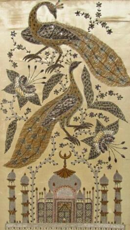 20thC Indian School. Exotic birds before above Taj Mahal