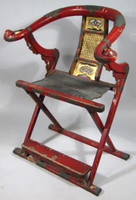 A Chinese Qing period hardwood folding chair