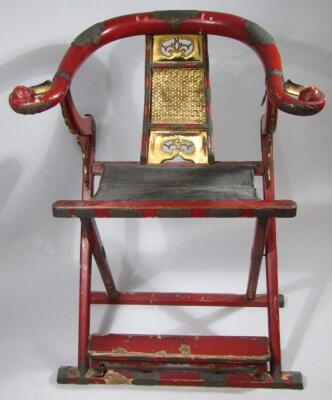 A Chinese Qing period hardwood folding chair - 2