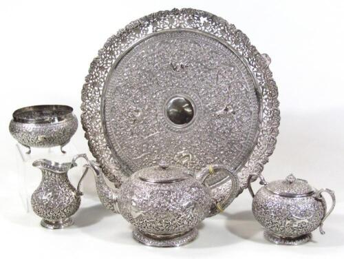 An early 20thC Indian five piece tea service