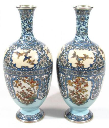 A pair of Japanese silver wire cloisonne baluster vases
