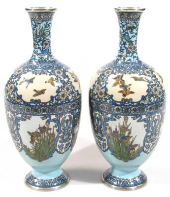 A pair of Japanese silver wire cloisonne baluster vases - 2