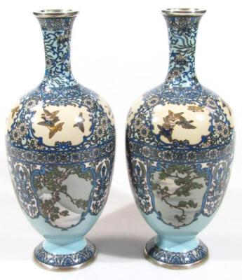 A pair of Japanese silver wire cloisonne baluster vases - 3