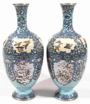 A pair of Japanese silver wire cloisonne baluster vases - 4