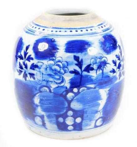 A Chinese blue and white pottery Ming style jar