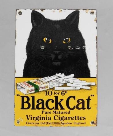 A Black Cat enamel sign
