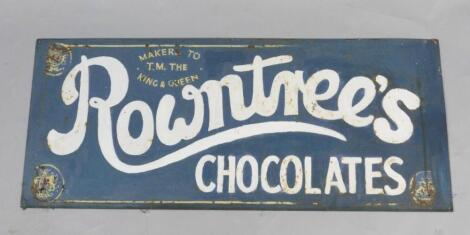A Rowntree's Chocolates blue and white rectangular enamel advertising sign