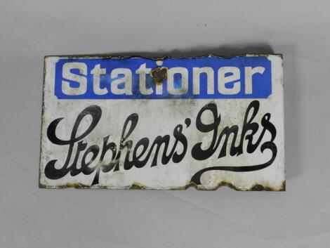 A Stationer Stephen's Inks blue and white enamel advertising sign