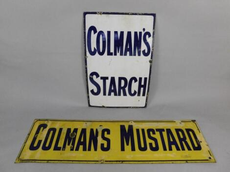 A Colman's Mustard blue and yellow enamel rectangular advertising sign