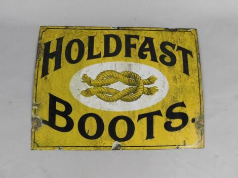 A Holdfast Boots black and yellow rectangular enamel advertising sign