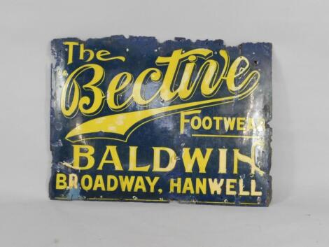 A Bective Footwear blue and yellow enamel rectangular advertising sign