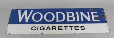 A Woodbine Cigarettes blue and white rectangular enamel advertising sign