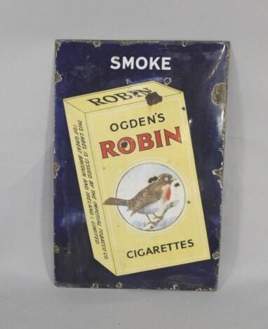 An Ogden's Robin Cigarettes blue and yellow rectangular enamel advertising sign