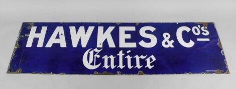 A Hawkes & Co's Entire blue and white rectangular enamel advertising sign