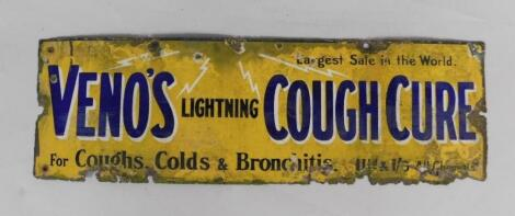 A Veno's Lightning Cough Cure rectangular blue and yellow enamel advertising sign