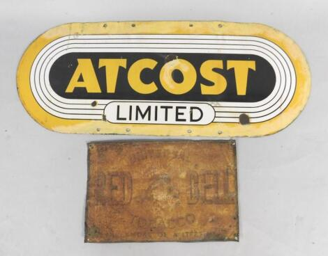 An Atcost Limited oblong yellow and black enamel advertising sign