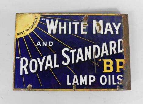 A White May and Royal Standard BP lamp oils blue and white enamel advertising sign