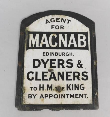 A MacNab Dyers & Cleaners arched black and white enamel advertising sign