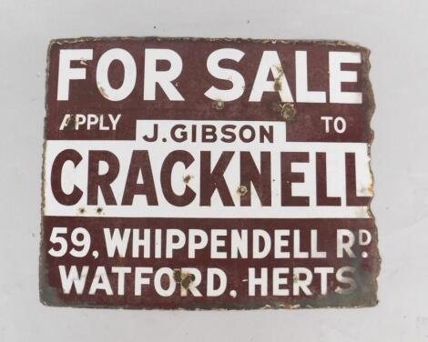 A J Gibson Cracknell for Sale brown and white rectangular advertising sign