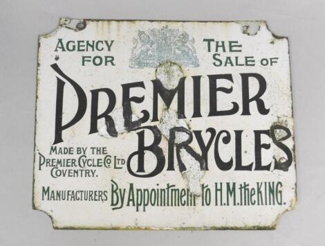 A Premier Bicycle Agency black and white enamel rectangular advertising sign