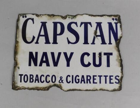 A Capstan Navy Cut blue and white rectangular enamel advertising sign