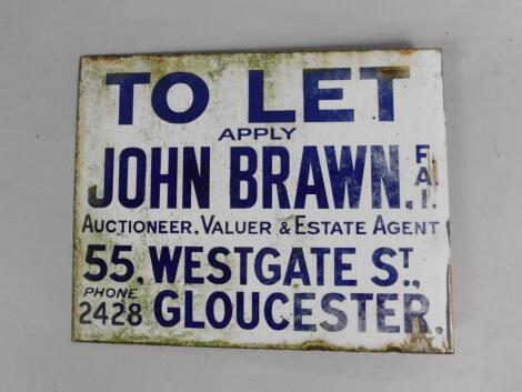 A John Brown FAI To Let blue and white rectangular enamel advertising sign
