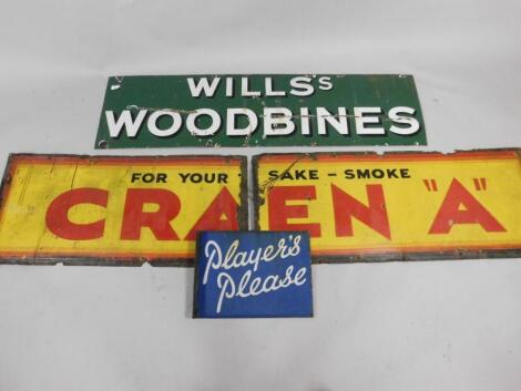 Three enamel cigarette advertising signs