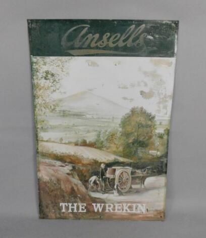 An Ansells 'The Wrekin' painted metal advertising sign