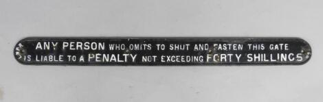A LNER Penalty oblong black and white cast iron sign