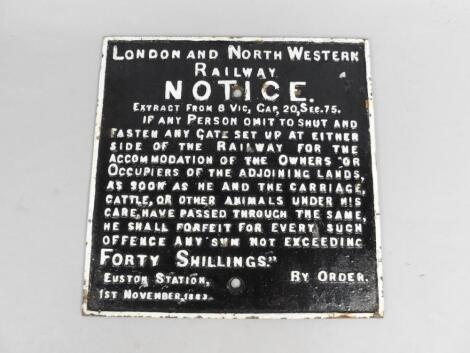 A London and North Western Railway Notice black and white square cast iron sign