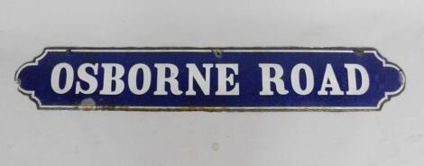 An oblong blue and white enamel street sign Osborne Road