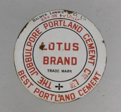 A Lotus Brand circular red and white enamel advertising sign