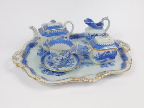 A Minton mid 19thC blue and white solitaire set