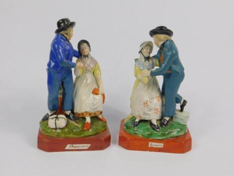 A pair of early 19thC Staffordshire pearl ware marine figures