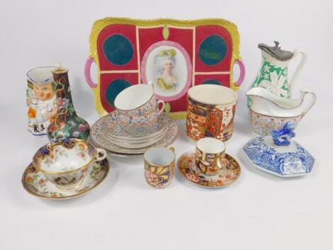 An early 19thC porcelain silver lustre part tea service