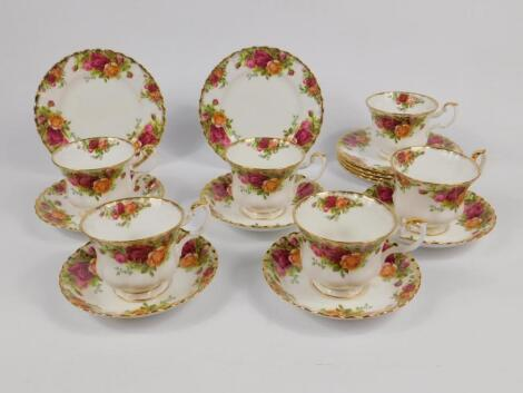 A Royal Albert porcelain part tea service decorated in the Old Country Rose pattern