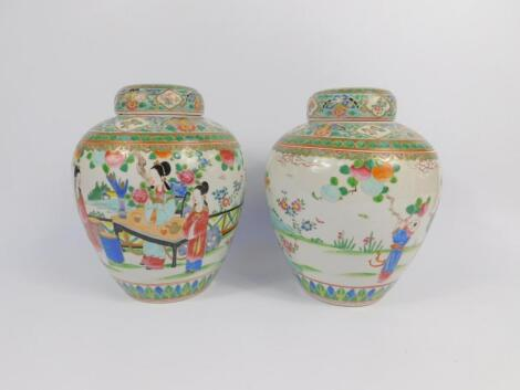 A pair of Chinese Republic porcelain famille rose porcelain ginger jars