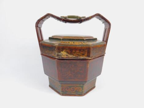 A Chinese early 20thC octagonal lacquered tiffin box