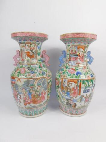 A pair of 19thC Cantonese famille rose porcelain vases