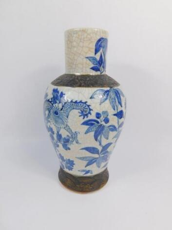 A late 19thC Chinese blue and white crackle glaze porcelain vase