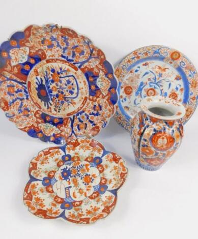 A Chinese Imari late 19thC porcelain fluted charger
