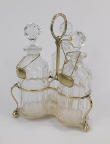 A Victorian Mappin Brothers plated three bottle wine cruet