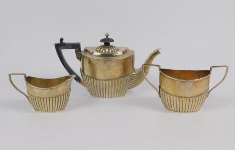 A Victorian silver three piece tea set