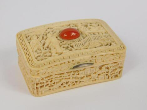 A Cantonese 19thC ivory box and hinged cover