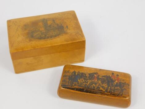 A Victorian Mauchline ware sycamore snuff box