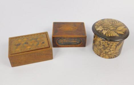 A Victorian parquetry lidded wooden box