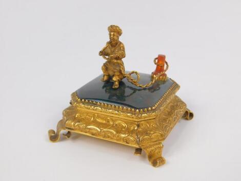 A Victorian late 19thC gilt brass and agate set casket
