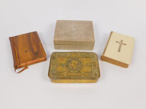 A shagreen rectangular box and winged cover