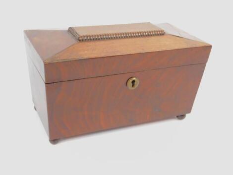 A Regency mahogany sarcophagus tea caddy